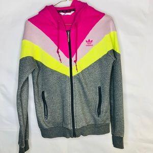 Adidas Color Block Zip Up Jacket Size Medium